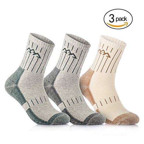Overmont 3 Paar Baumwolle Herren Socken Sportsocken Funktionssocken Outdoorsocken (41-46) Schnell Trocknend für Camping Klettern Wandern Leichtathletik Skifahren Khaki/ Grün/ Grau (Drei Herren-socken)