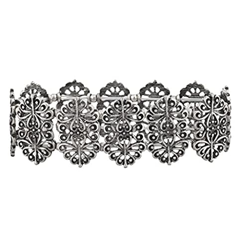 Lux Accessories Boho burnished Silver Antique Casted Filigree Stretch
