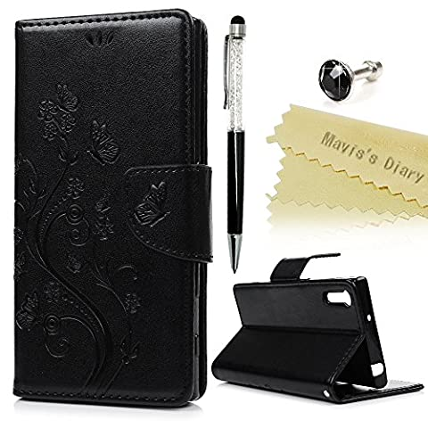 Mavis's Diary Xperia XZ Case , Sony Xperia XZ / XZs Case - PU Leather Wallet Flip Case with Detachable Hand Strip [Butterfly & Flower Embossed Design] Card Slots & Stand & Magnetic Closure with One Dust Plug & One Stylus for Sony Xperia XZ / XZs - Black