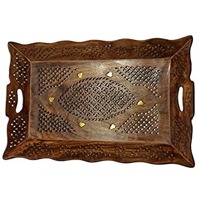 Gift your Mother on Special Day Wooden Serving Tray 14.5X9 inch, Tea or Coffee Serving Tray, Net & Inlay Work Tray. produced by PMK - quick delivery from UK.