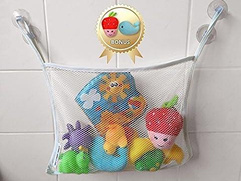 Jouets de douche Organiseur - Organiseur pour jouets de bain + douche sans Jouets pour - Grand sac de rangement pour baignoire jouets + ventouse résistante sans Jouets de Bain avec 2 ventouses, Blanc, Taille M (blanc)