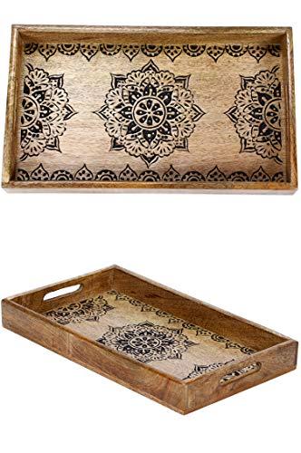 Orientalisches eckiges Tablett aus Mango Holz Arash 38cm   Marokkanisches Teetablett in der Farbe Braun   Orient Holztablett   Orientalische Dekoration auf dem gedeckten Tisch