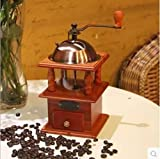 ZXMXY Macinacaffè manuale regolabile in ceramica Conica Burr Hand Crank Mill macina Fagioli Spezie Spazzolato in legno stile vintage Coffee Mill