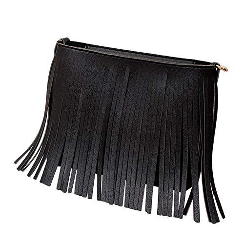 Bfmyxgs Mode Umhängetaschen für Frauen Mädchen Feste Reißverschluss Weiches PU-Leder mit weichem Rücken Umhängetasche Quaste Messenger Satchel Tote Umhängetasche Handytasche