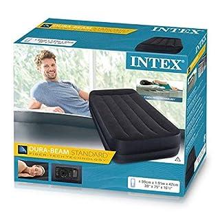 Intex Erwachsene Twin Einzel Kissenauflage mit Fiber-Tech Bip Airbed angehoben, Oberseite: Schwarz/Unten: Blau, 99 x 191 x 42 cm