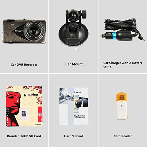 1296P Full HD Night Vision Dash Cam, Innoo Tech Car Camera, 170°Ultra Wide Angle, G-sensor, Motion Detection, LDWS & FCWS, Parking Mode, 16G SD Card Included