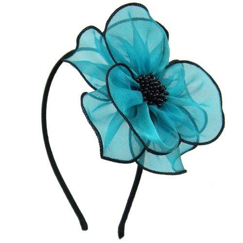 Righe e Pois 93-401 Serre-tête pour cheveux, idéal pour cérémonie, 0,5 cm avec maxi fleur en viscose, voile de 11 cm environ, serre-tête pour cheveux turquoise