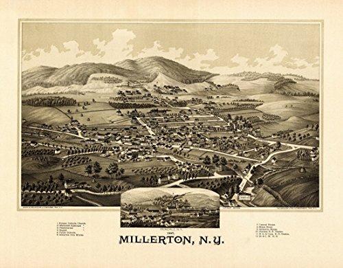 The Poster Corp Antique Map of Millerton New York 1887 Dutchess County Kunstdruck (45,72 x 60,96 cm) - 1887 Antique Map