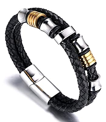 "Halukakah ""HONOUR"" Men's Genuine Leather Bracelet with Titanium Beads Golden & Silver 8.46""(21.5cm) with FREE Giftbox"