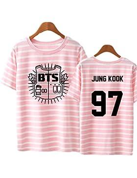 SERAPHY Unisex KPOP Camiseta de Verano KPOP Bangtan Boys BTS Tshirt Rayada for Army Suga Jin Jimin Jung Kook J-Hope...