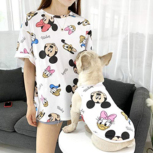 Koreanisches Kinder Kostüm - L Pet supplies Hund Kleidung Sommer Dünnschliff koreanische Version der Weste atmungsaktive kühle Baumwolle Teddy Keji Haustier Eltern-Kind-Kleidung @ White Disney_Parental Code