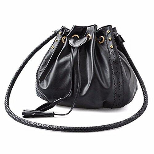 ZARU Dame Handtaschen-Schulter-Beutel-Tote-Geldbeutel (Schwarz) (Tote-geldbeutel Leinwand)