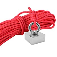 asterisknewly Fishing Magnet NdFeB Salvage Magnet Square River And Magnetic Fishing Device 505025mm Rally 80kg (with Ring +10 M With Lock Rope)