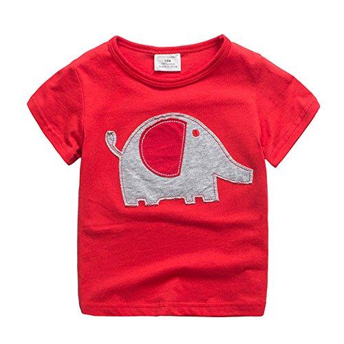 Lindo Animal Elefante Camisetas Niños 2-7 Años Manga Corta Unisex Ropa (3T, Rojo)