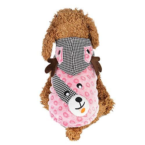 Amphia Haustier Kostüm - Elch verkleiden Sich,Weihnachten Hund Welpen Hoodie Pullover Fleece warme Kleidung Elk Dress Up(Rosa,M)