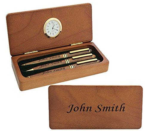 Maßgeschneiderte personalisierte Lasergravur Kugelschreiber, Brunnen & Roller Holz Pen Set mit Uhr Geschenk präsentieren mit kostenlosen benutzerdefinierten Gravur