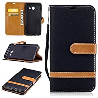 For Samsung Galaxy J5 2017 Case [with Free Screen Protector], Qimmortal(TM) Premium Soft PU Leather Cowboy Cloth Wallet Cover Case with [Kickstand] Credit Card ID Slot Holder Magnetic Closure Design Folio Flip Protective Slim Skin Cover For Samsung Galaxy