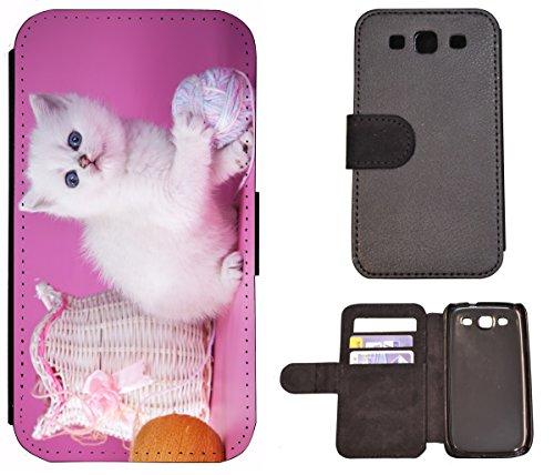 Flip Cover Schutz Hülle Handy Tasche Etui Case für (Apple iPhone 6 / 6s, 1408 Elefant Elefanten Baby Grau Afrika) 1404 Katze Katzen Baby Kätzchen Weiß Pink