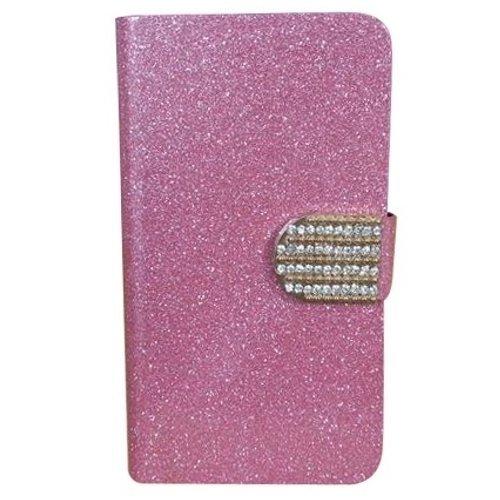 Apple iPhone 8 Diamond Case Hülle PU Leder Abdeckung (Blau) - 1 x Gratis klarer Bildschirmschutz Pink