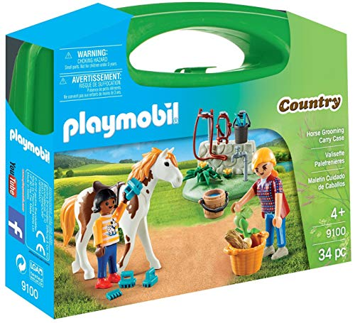 Playmobil-9100 Maletín Grande Cuidado de Caballos