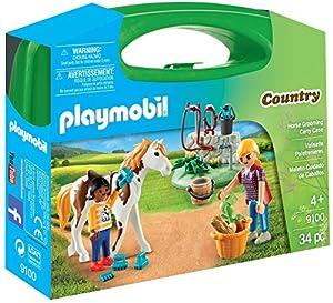 Playmobil-9100 Maletín Grande Cuidado de Caballos, Multicolor, única (9100)
