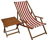 Erst-Holz Liegestuhl Rot-weiß Gartenstuhl Tisch Deckchair Buche Dunkel Strandstuhl klappbar 10-314 T
