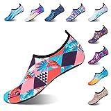 Strandschuhe Badeschuhe Schwimmen Aqua Barfuß Wassersport Yoga Schuhe Leicht Rutschfeste für Damen Herren (Flamingo, 46/47EU)