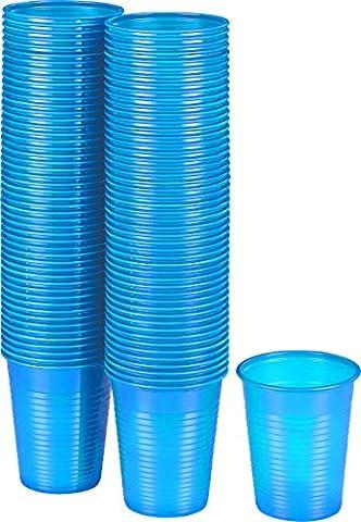Kigima Gobelets jetables en plastique bleu clair, 100 pièces, 0.18l