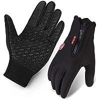 Cycling Gloves, Waterproof Touchscreen in Winter Outdoor Bike Gloves Adjustable Size- Black