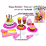 Babytintin DIY Fruit Cake- Ideal for preschoolers a Whole Cake Party Set with Velcro Fastened Large Cake Decoration Pieces Removable Candles Cupcakes Cookie Play Food Toy for Kids