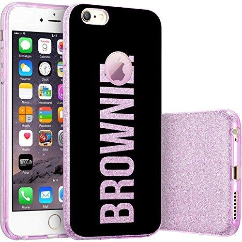 finoo | iPhone 6 / 6S Lilane bedruckte Rundum 3 in 1 Glitzer Bling Bling Handy-Hülle | Silikon Schutz-hülle + Glitzer + PP Hülle | Weicher TPU Bumper Case Cover | Pusteblume Brownie Black