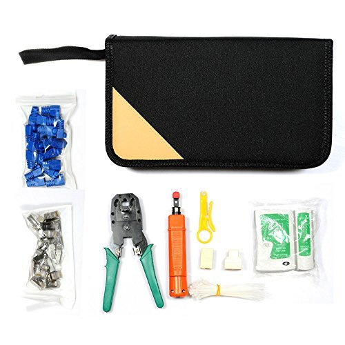 Lysignal 11 in 1 Professional Portable Ethernet Network Computer Maintenance Repair Tool Kit Set LAN Cable Tester RJ45 RJ11 Cat5e Cat 6 Cable Crimper 324B Wire Cutter Internet Toolbox