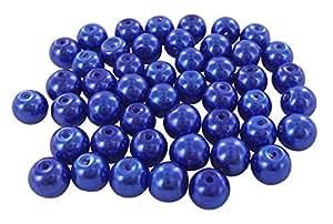Lot perles nacrées plastique 6mm création bijoux gros , - Bleu / lot de 100