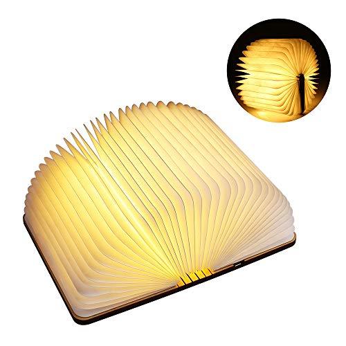 BrizLabs LED Buch Lampe 1200 mAh Akku Nachttischlampe Warmweiß Stimmungsbeleuchtung Faltende Nachtlicht USB Dekorative Tischleuchte DuPont Papier + Holz Einband, Ideal Geschenk [Energieklasse A+++] -