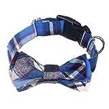 Wimagic Hundehalsband, stilvolles Karo-Druck, weich, langlebig, verstellbar, gepolstert, mit Fliege für mittelgroße Hunde, Baumwolle, blau, 34cm-42cm