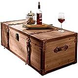 """Tavolino da salotto """"Cassapanca"""", legno, marrone, molto capiente, ca. L 110 x P 50 x A 35cm"""