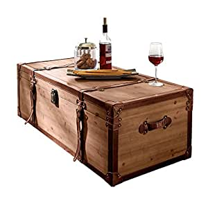 Miavilla coffee table side table trunk chest box with for Coffee tables amazon