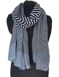 Navy blue with white stripes long soft scarf