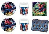 Cdc -kit n°5 festa e party Spiderman - (40 piatti, 40 bicchieri, 40 tovaglioli, 1 tovaglia)