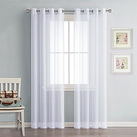 Voile Tüll Vorhänge Gardinen Weiß - PONY DANCE ( 2 Stücke, H 175 x B 140 cm ) Gaze Schals Ösen-vorhang Gardinenschal Fensterschal Optik Dekoschal Ösenschal für