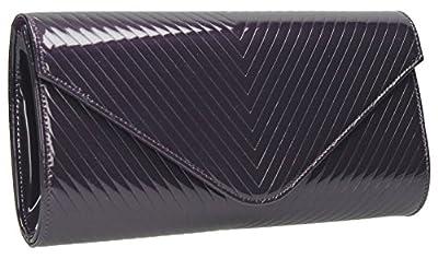 Viola V Quilt Detail Envelope Style Patent Leather Smart Evening Clutch Bag