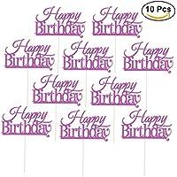 ULTNICE Cake Topper Decoraciones Suministros de fiesta para la torta de cumpleaños feliz 10 Pcs (Purple)
