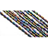 The Design Cart Multicolour Metallic Pencil Shaped Crystal Bead (4 Mm * 8 Mm) 1 String For – Jewellery Making, Beading, Arts And Crafts And Embroidery.