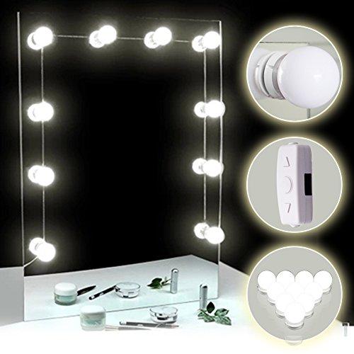 TOMNEW– Kosmetikspiegel-LED-Leuchten, Hollywood-Style, 10dimmbare Leuchten für Make-up-Tisch, mit Touch-Dimmer, Netzteil und Stecker weiß