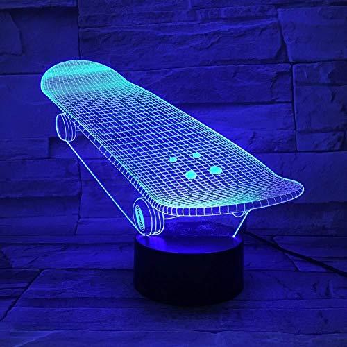 QB Nachtlicht, Cartoon 3D-Illusion, die Skateboard Sliding Platte Beste 3D-Lampe batteriebetriebenes Modernes Gift Infant geführte Nachtlicht-Lampe Dekorative