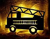 Feuerwehr Nachtlicht Feuerwehrauto LED Kinderlampe - Batteriebetrieben für mehr Sicherheit im Kinderzimmer