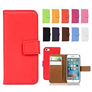 Fancy Cherry® Luxury Genuine Leather Wallet Stand Folio Case with Card Slot for Apple iPhone 5/5S