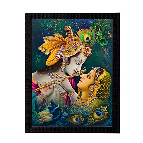 eCraftIndia Matte Textured Framed Synthetic Wood Radha Krishna UV Art Painting (27.9 cm x 1.3 cm x 35.6 cm)