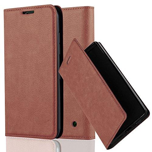 Cadorabo Hülle für Nokia Lumia 630 - Hülle in Cappuccino BRAUN – Handyhülle mit Magnetverschluss, Standfunktion und Kartenfach - Case Cover Schutzhülle Etui Tasche Book Klapp Style