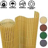 Hengda Frangivista Canniccio PVC Paravento Privacy Antivento Divisorio Decorativo Frangivento Recinzione Giardino per Giardino, Balcone e Terrazza, bambù(120 x 400 cm)